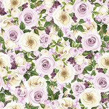 Seamless background with roses and lisianthus flowers. Vector. - 64090145