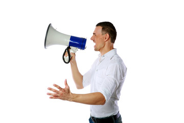 Side view of a man screaming on the megaphone