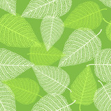 Vector seamless background with skeletons of leaves
