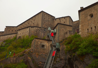 View of spectacular fort of Bard, Aosta (Italy)