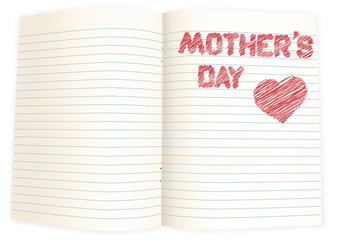 sheet of paper with pencilled text mothers day and heart