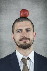 businessman with an apple