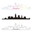 Cleveland skyline linear style with rainbow