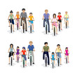 Families Riding A Bicycle - Isolated On White Background