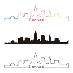 Cleveland skyline linear style with rainbow