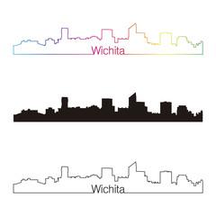 Wichita skyline linear style with rainbow
