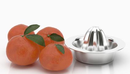 Naranjas y exprimidor sobre fondo blanco