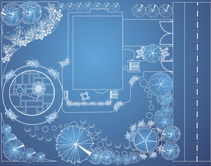 Vector blueprint of garden plan