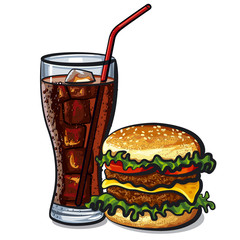 hamburger and cola
