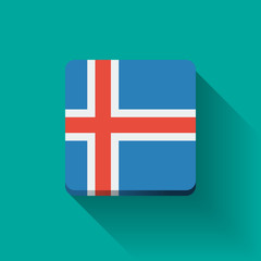 Button with flag of Iceland