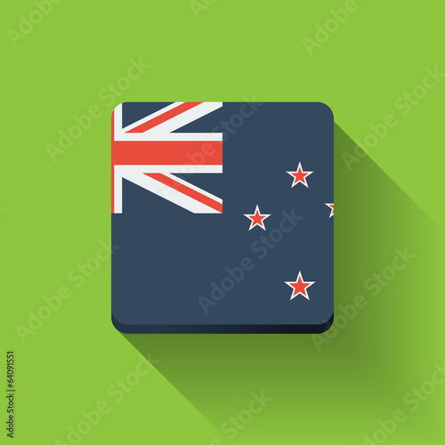 Button with flag of New Zealand