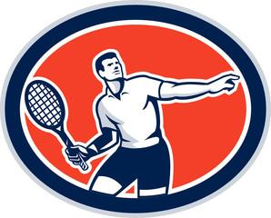 Tennis Player Racquet Oval Retro