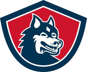 Siberian Husky Dog Head Shield Retro