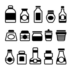 Jar Icons Set. Black Silhouette on White Background. Vector