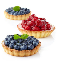 Blueberry and raspberry tarts