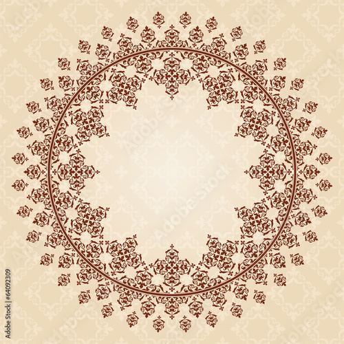 round brown vintage ornament on light beige pattern - vector