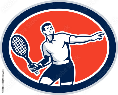 Tennis Player Racquet Oval Retro