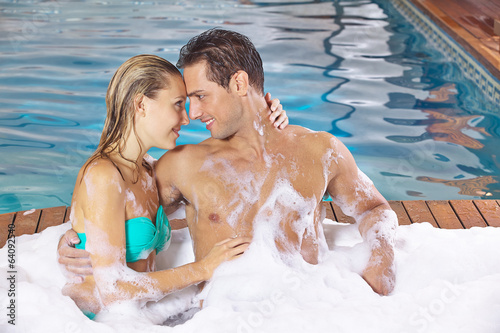 Couple in love in holiday spa resort