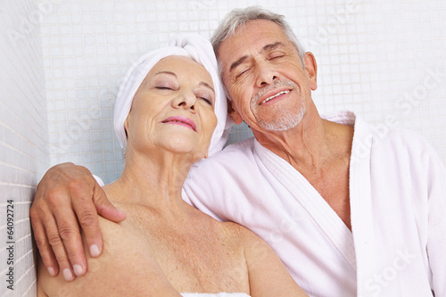 Senior couple sitting in relaxation room