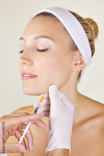 Woman getting cosmetic surgery