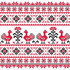 Ukrainian Slavic folk knitted red emboidery pattern with birds
