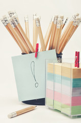 Wooden pencils in a stationery and notes