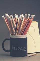 School pencils in a chalkboard mug