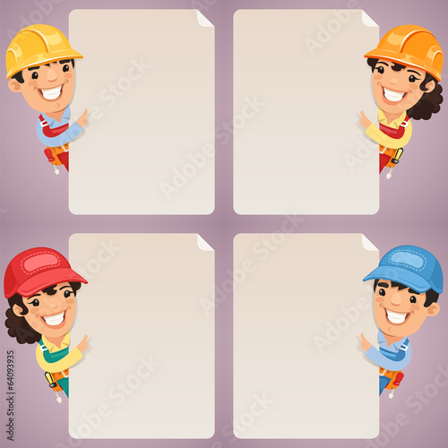 Builders Cartoon Characters Looking at Blank Poster Set