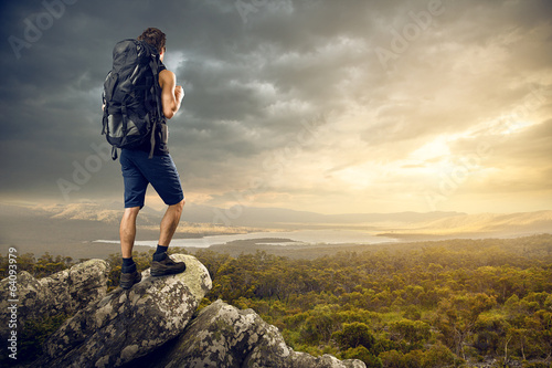 canvas print picture Backpacker