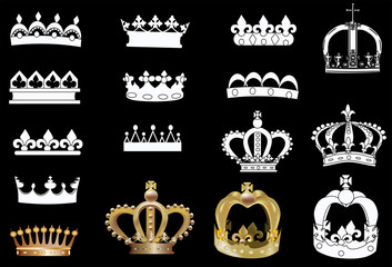 white and gold crowns isolated on black
