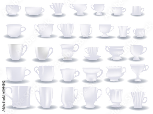 thirty two light isolated cups collection