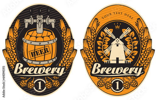 beer labels with the mill and barrel