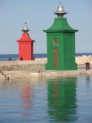 red and green lighthouses