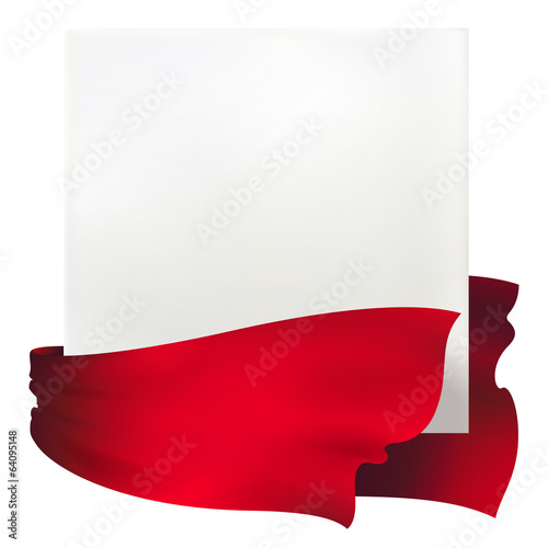 waving red ribbon banner