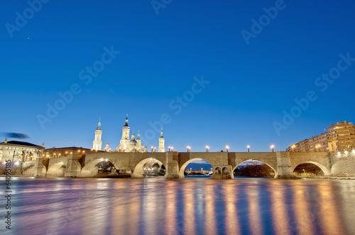 Stone Bridge across the Ebro River at Zaragoza, Spain