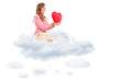 Woman holding a red heart seated in cloud