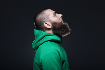 Man in green sweatshirt