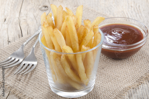 canvas print picture french fries and spicy tomato sauce