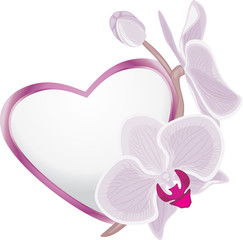 Decorative heart with blooming orchid branch