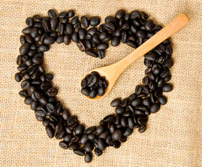 Shape of heart made of coffee grains