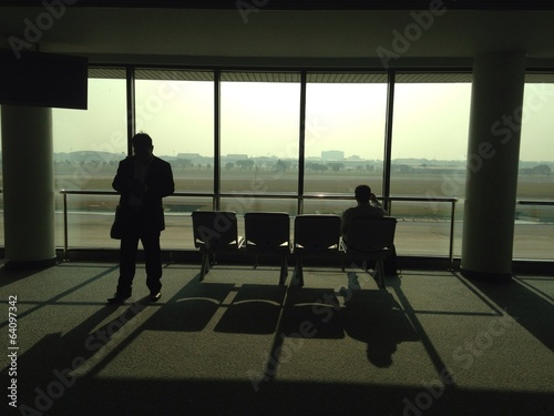 Tourist waiting in airport