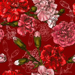 Seamless background with red flower carnation