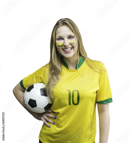 Brazilian fan smiles holding a soccer ball on white background