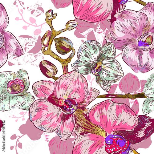 Seamless pink orchid Pattern