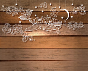 Steampunk whale in night sky with stars and moon and beautiful c