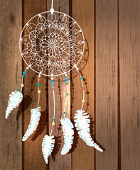 Color American Indians dreamcatcher with bird feathers and flora