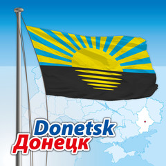 donetsk flag with map