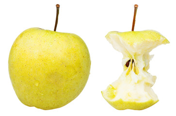end core and whole golden delicious apple