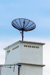 Satellite Dish on the roof with the blue sky