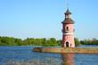 Leinwanddruck Bild - Mole und Leuchtturm Großteich Moritzbug
